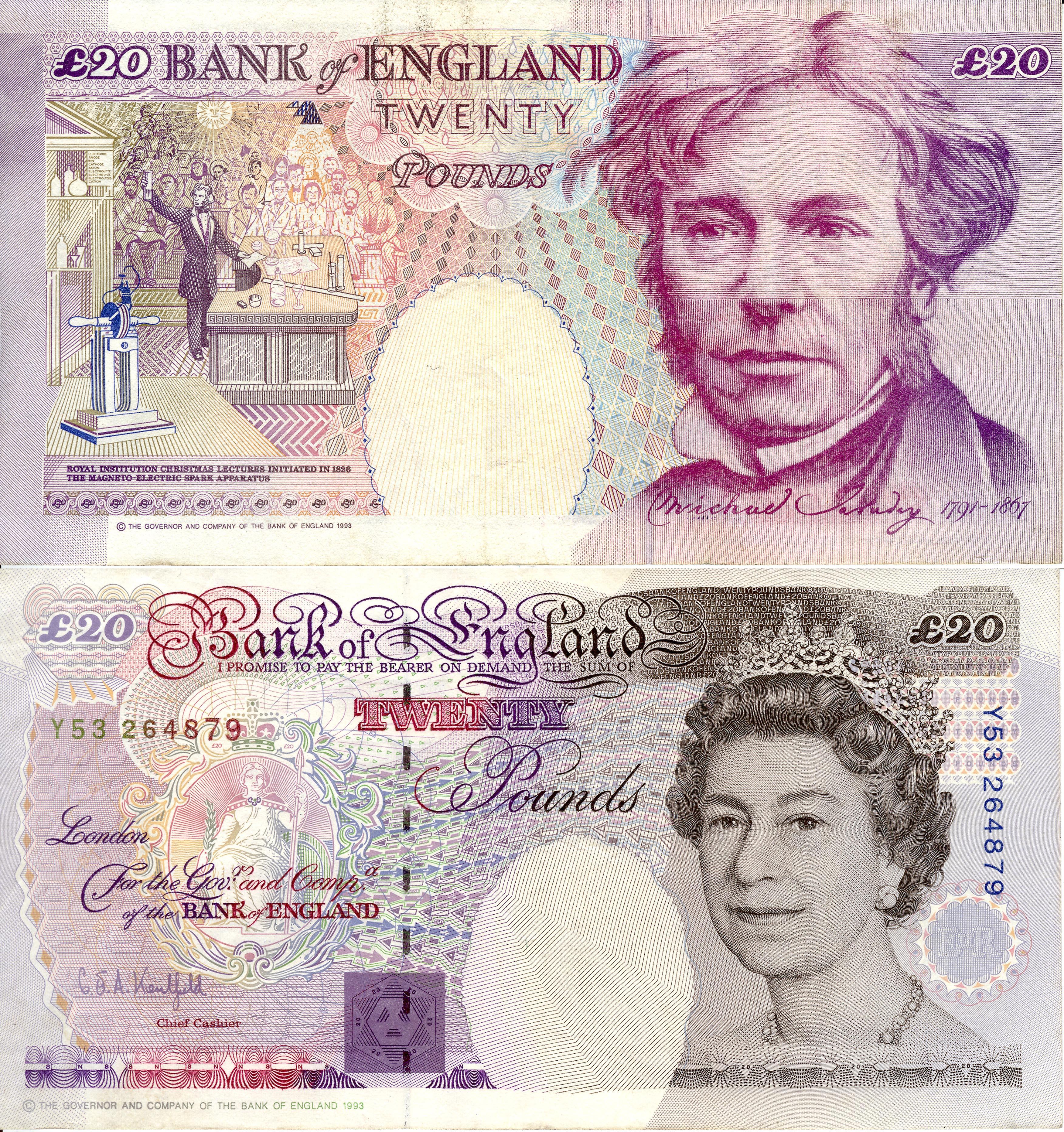 Michael faraday 20 british pounds 1993