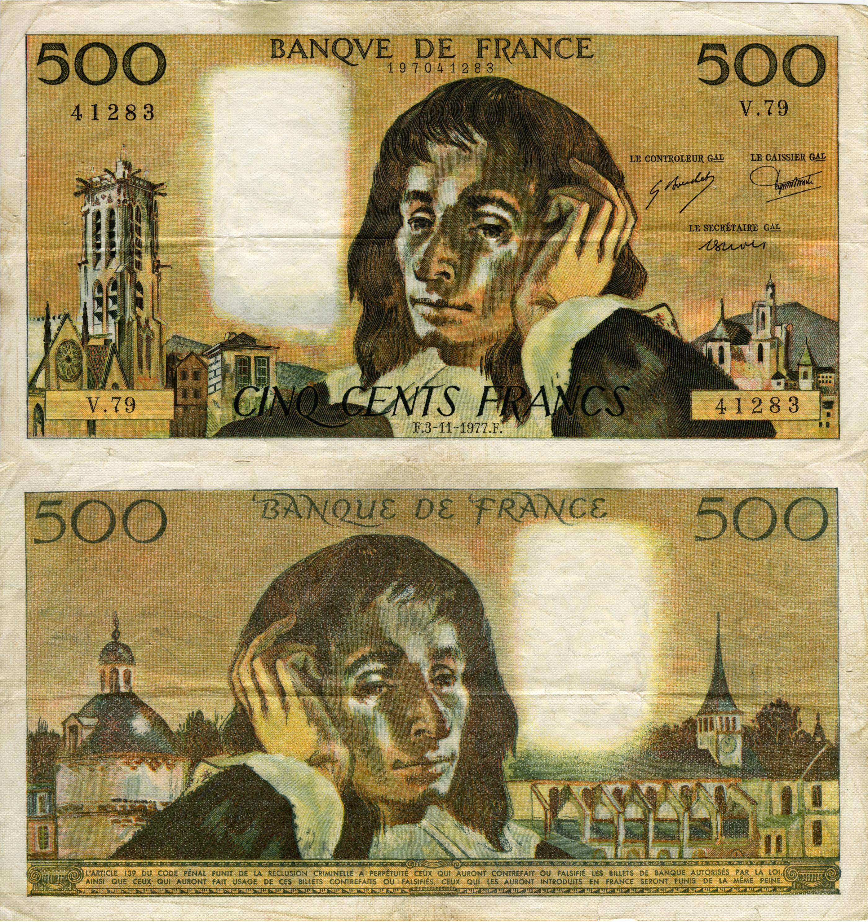 Blaise Pascal 500 French Francs 1977