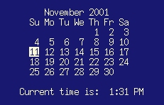 screenshot of calendar with today's date highlighted