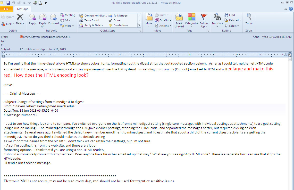 An HTML email message