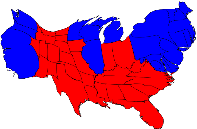 Election Result Maps - Us map by electoral vote