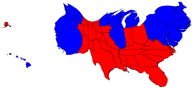 Election Result Maps - Us political map adjusted for population 2016
