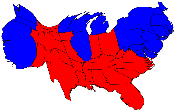 here are the 2004 presidential election results on a population cartogram of this type