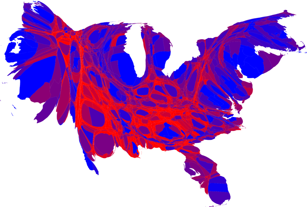 Mark Newmans 2008 US presidential County Cartogram