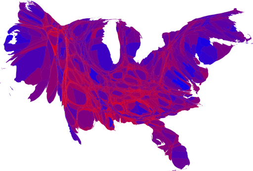 2008 US Political Map Including Population Size