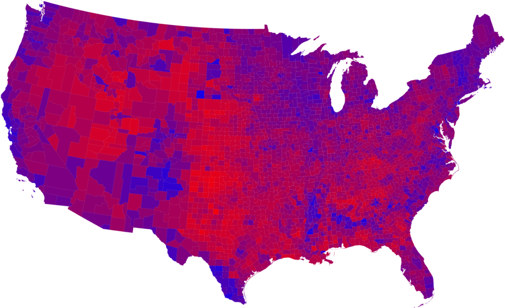US Political Map by County, By Vote 2008