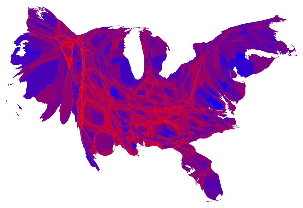 2012 Counties Population Adjusted Red Purple Blue