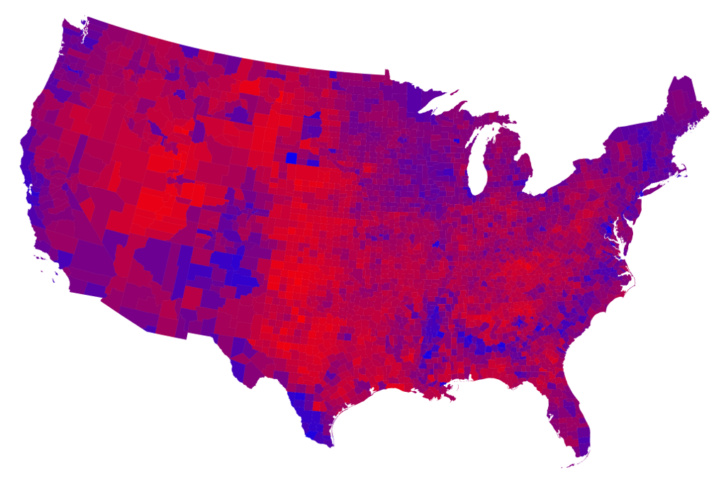 2012 Counties Shades Of  Red Purple Blue