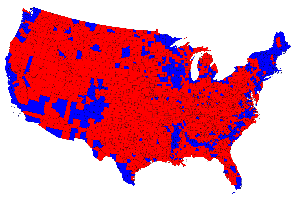 Election Maps - Map of county votes for us election
