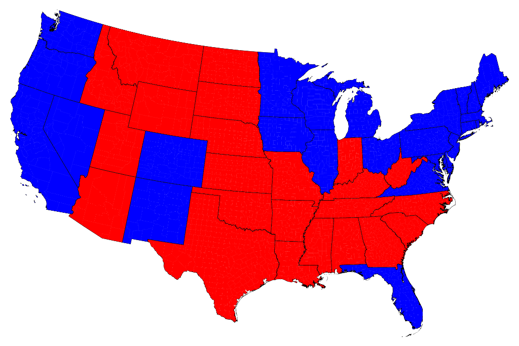 Election Maps - Us map electoral to color