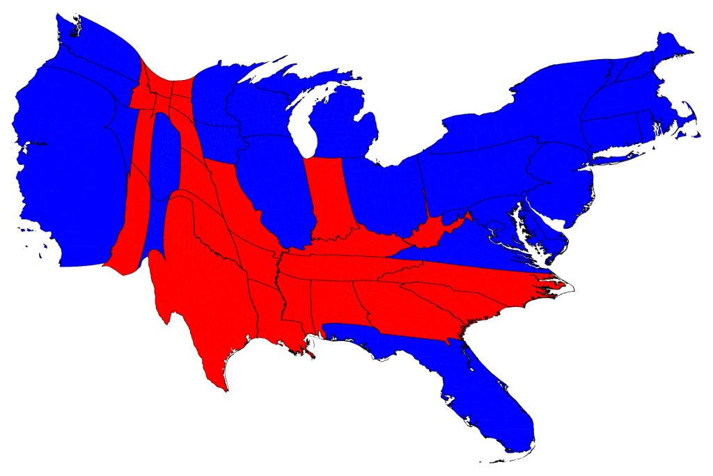 Election Maps - Us map population proportion to smallest state grid