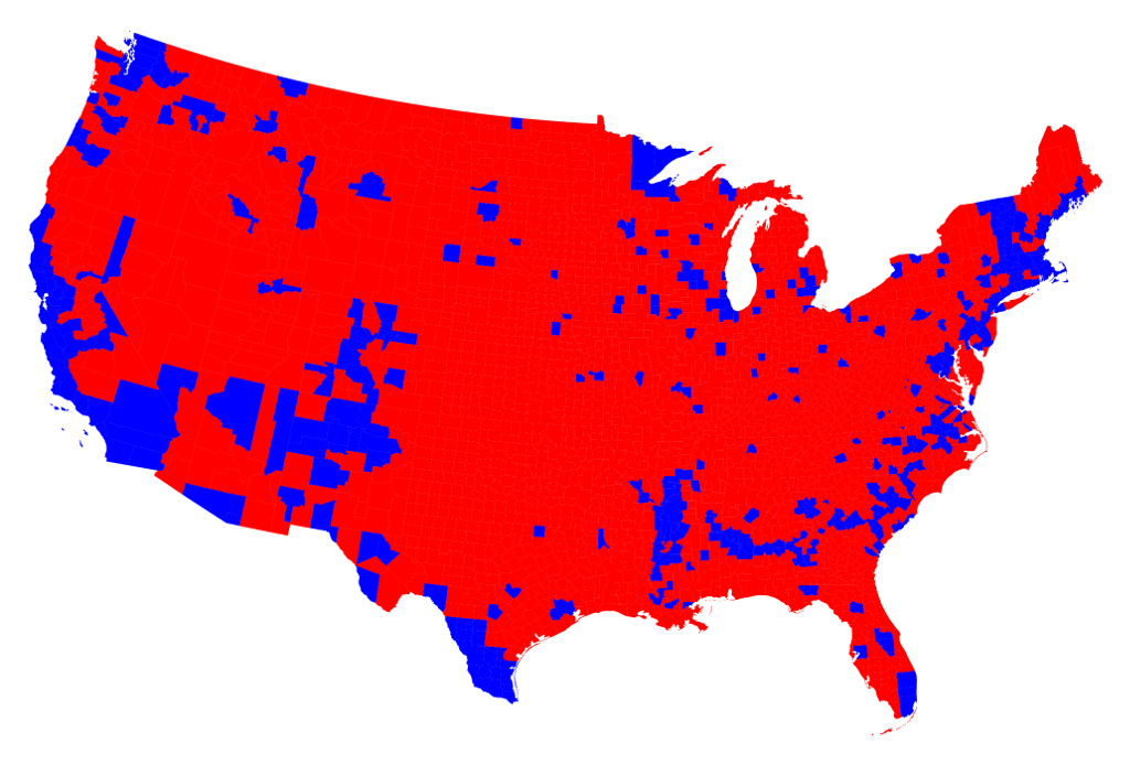 Election Maps - Us map of voting results by county