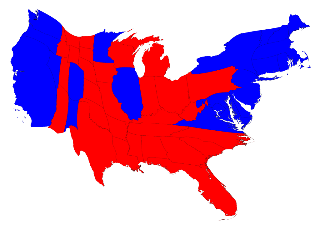Election Maps - Map of us without electoral college 2016