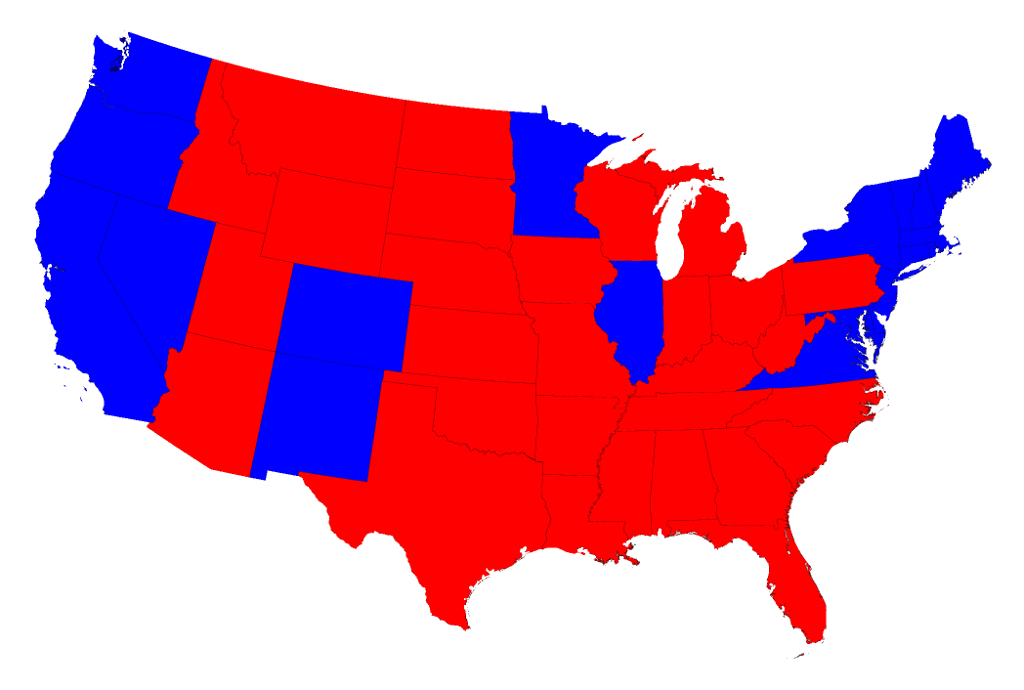 Election Maps - Us presidential election red blue map