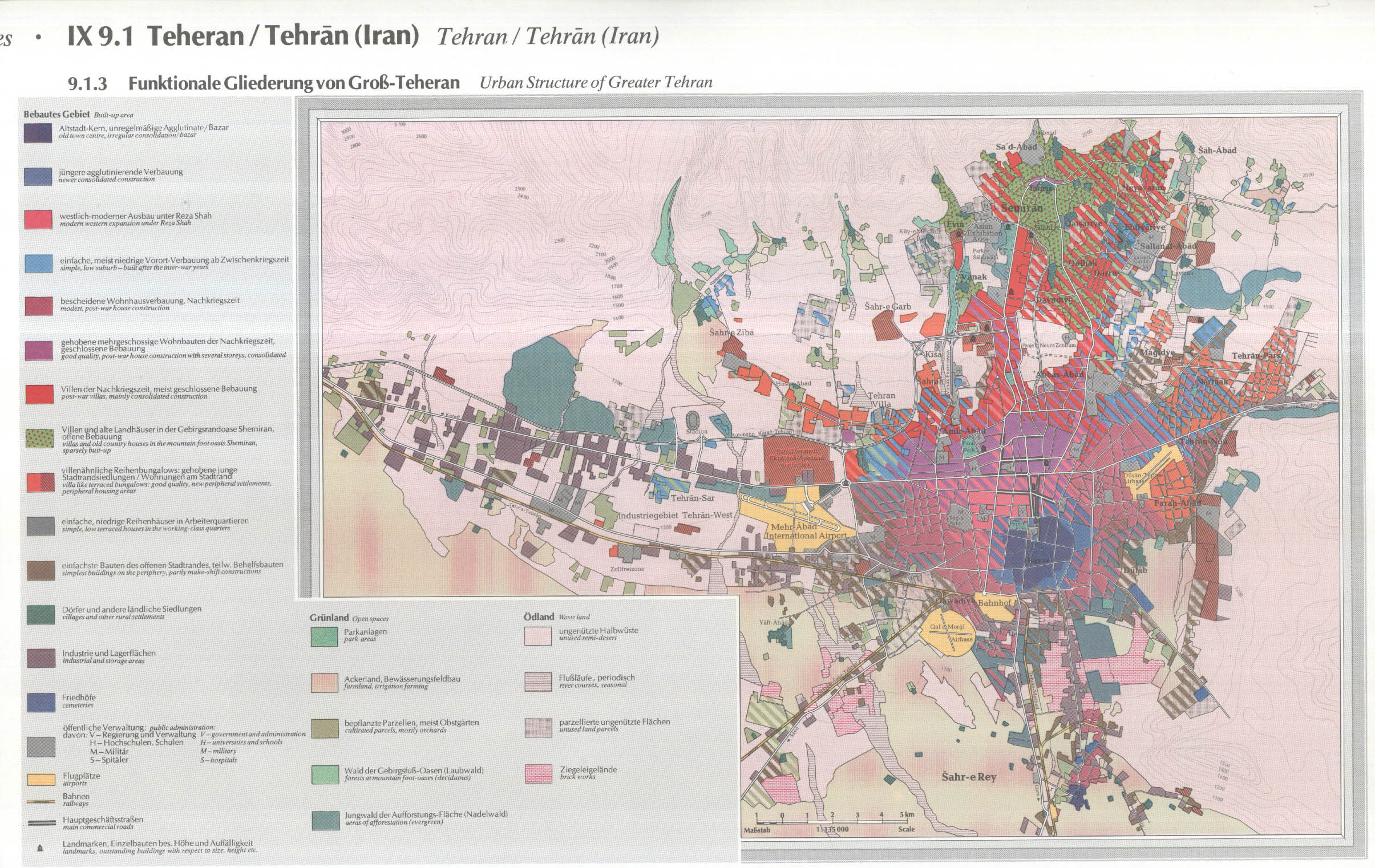 Map of Tehrans Urban Structure Enlarged