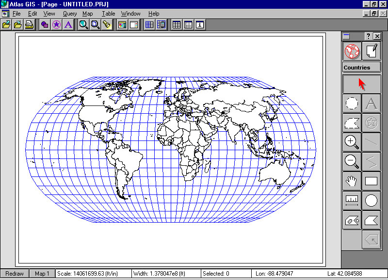University of chicago cartography workshop summer 2001 atlas gis esri open a map of the world note the latitude and longitude gumiabroncs Choice Image