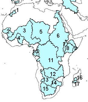 Numbered Map Of Africa.Africa Primary Watersheds
