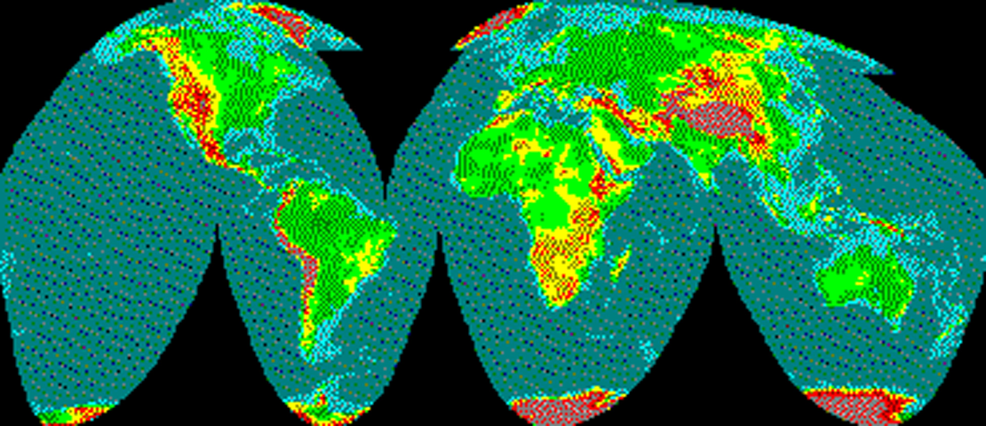 sinusoidal projection Create a map using the mollweide projection mmoll = map('mollweide', fill_color='light blue', $ title='mollweide projection') create a map using the sinusoidal projection msinusoid = map('sinusoidal', fill_color='light blue', $ title='sinusoidal projection') create a map using the polar stereographic.