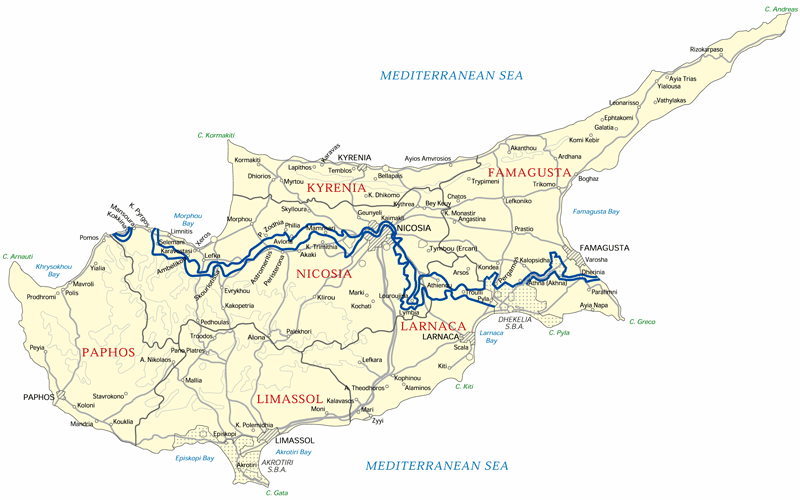 Modern Map of Cyprus