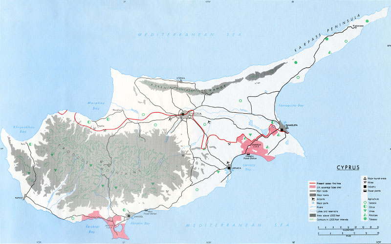 1987 Map of Cyprus