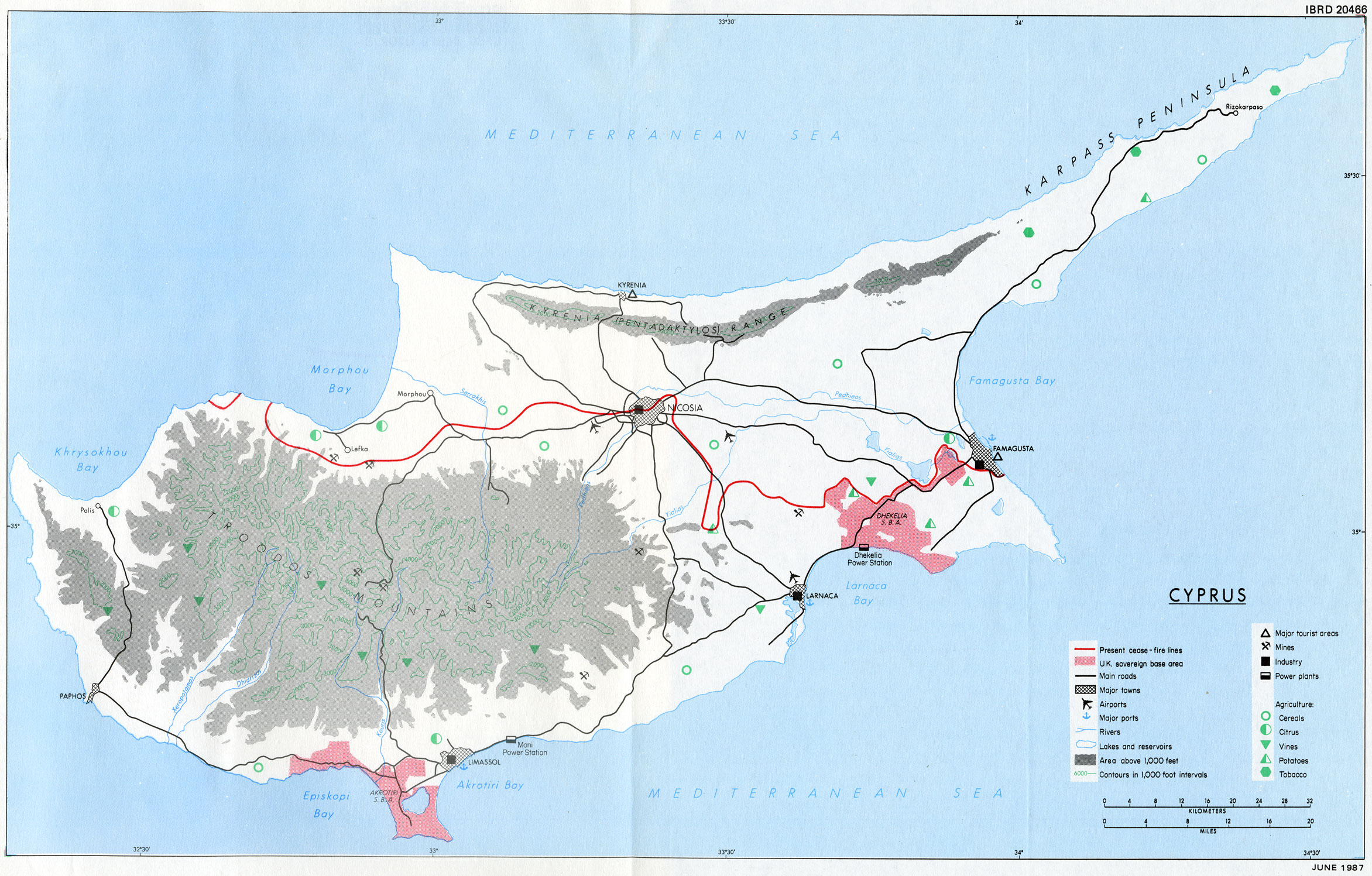 The British Withdrawal From Cyprus - Topographic map of united kingdom