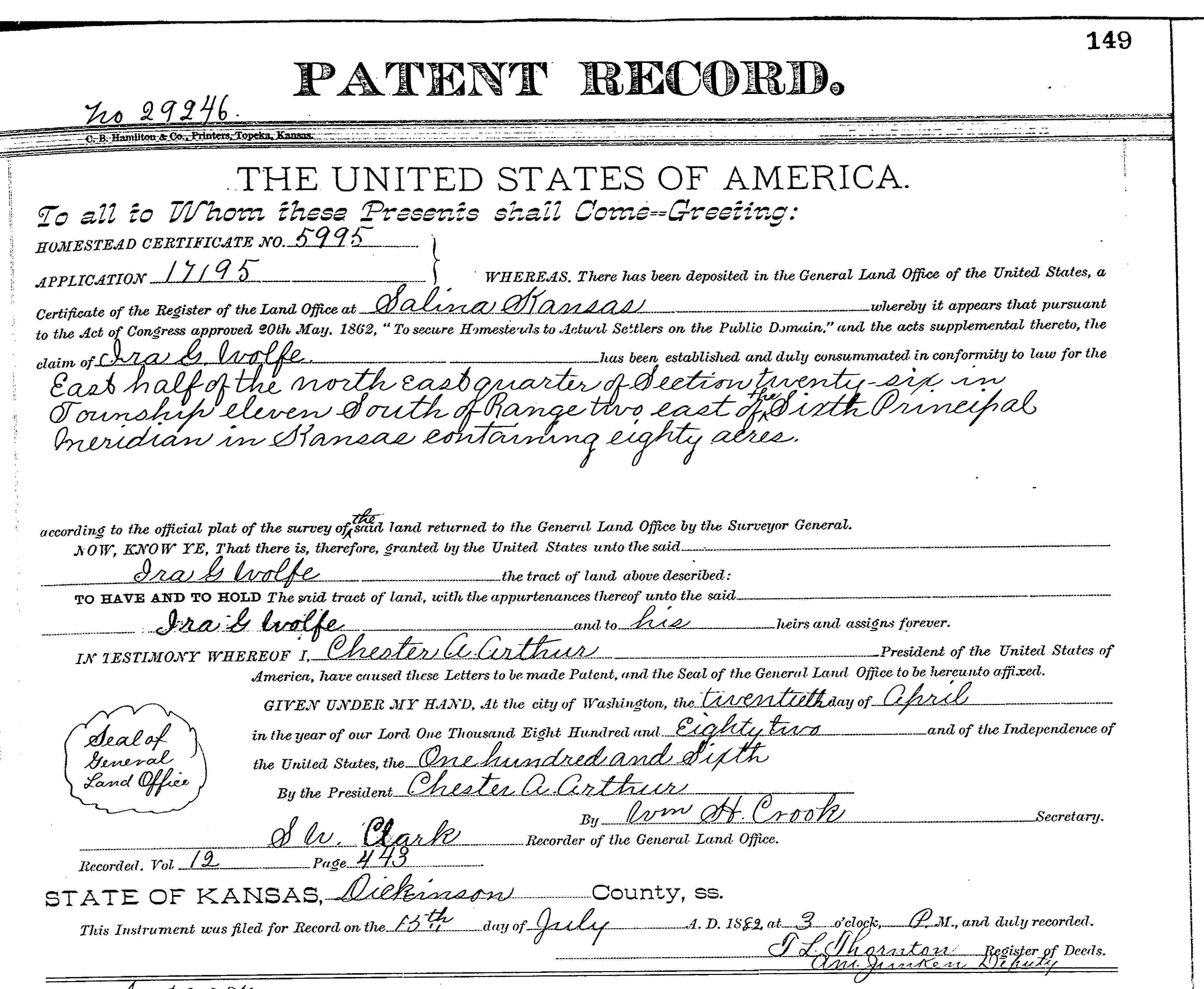 Kansas dickinson county abilene - 1882 Homestead Land Patent Ira G Wolfe Dickinson County Kansas On 20 April Ira G Wolfe Was Granted A Patent For 80 Acres Of Land By President Chester