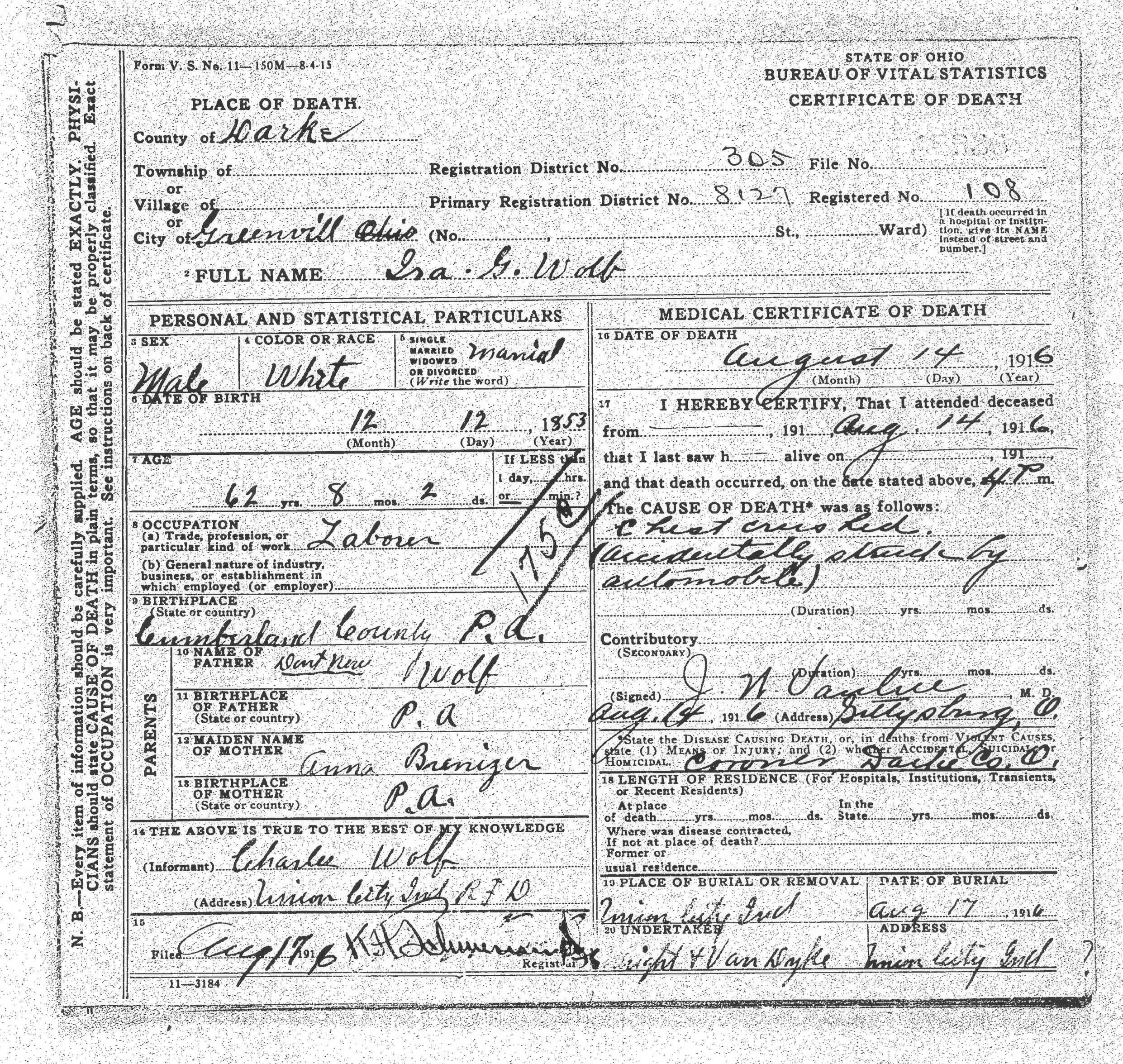 Ira gerald wolfe 12 december 1853 14 august 1916 born 1916 ira wolfe death certificate iras mother anna brenizer lived at hampton pennsylvania at this time aiddatafo Images